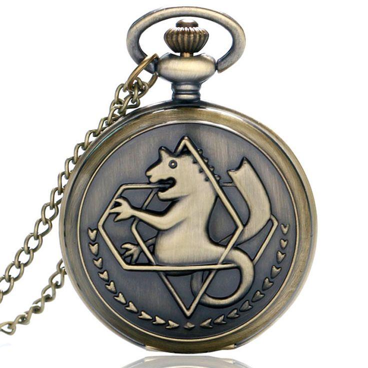 Bronze Fullmetal Alchemist Pocket Watch Necklace Cartoon-Watch Gift For Men Women Children