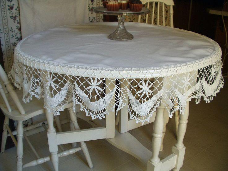 Vintage 1900s 1920s Round White Linen Tablecloth Crochet Lace Edging « The  Gatherings Antiques Vintage Antiques