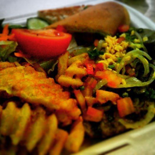 kudu grilled beef, hashed potatoes, veggie salad