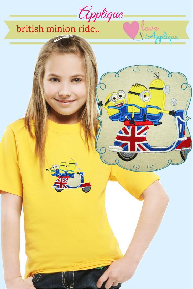 Minion Applique. Minion embroidery Designs. Minion Party ideas. Minion outfits. Minion T shirts, Despicable me. www.lovesapplique.com