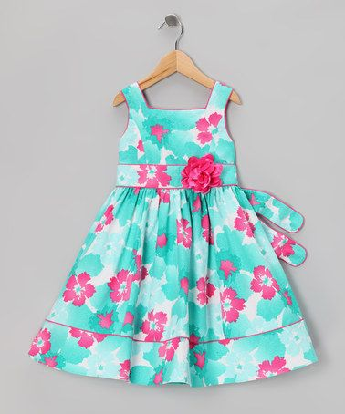 Take a look at this Blue  Pink Floral Dress - Toddler  Girls by Sweet Heart Rose on #zulily today!