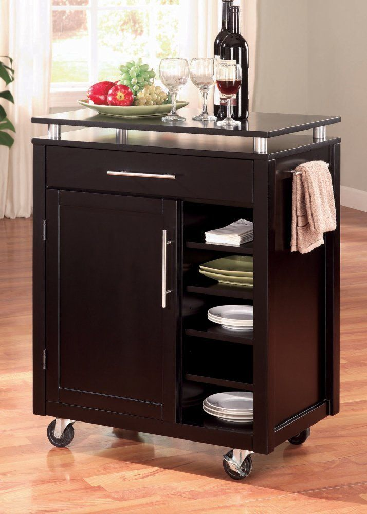 Amazon.com: Coaster Home Furnishings 910012 Transitional Kitchen Cart, Black: Kitchen & Dining