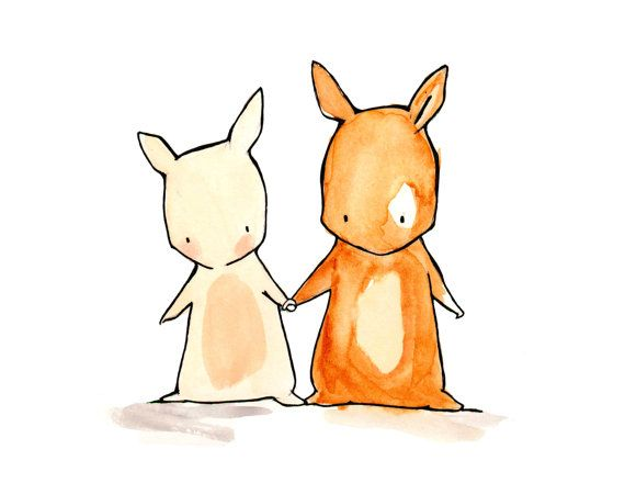 Me and You Bunnies 8x10 Nursery Art Print by ohhellodear on Etsy, $20.00