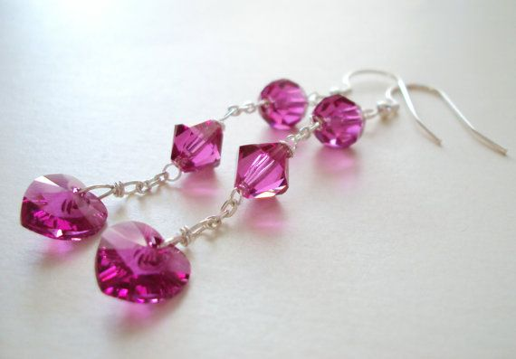 Swarovski Fuchsia Glamorous Romantic long dangly earrings in sterling silver (925)