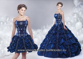 dunkel blaues ballkleid brautkleid abendkleid mit applikationen