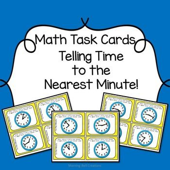Math Task Cards can be used in so many ways!   This set includes 24 Math Task Cards on Telling Time to the Nearest Minute, a student answer sheet, an At-a-Glance Teacher page, and a teacher answer sheet.  This set of task cards is also offered as part of my Telling Time: Math Task Card BUNDLE   Some of the GREAT ways to use these cards:  *in math centers *as a pre-assessment *as a post assessment *as exit tickets *in the game of Scoot *in small instructional groups *as a unit review or test…