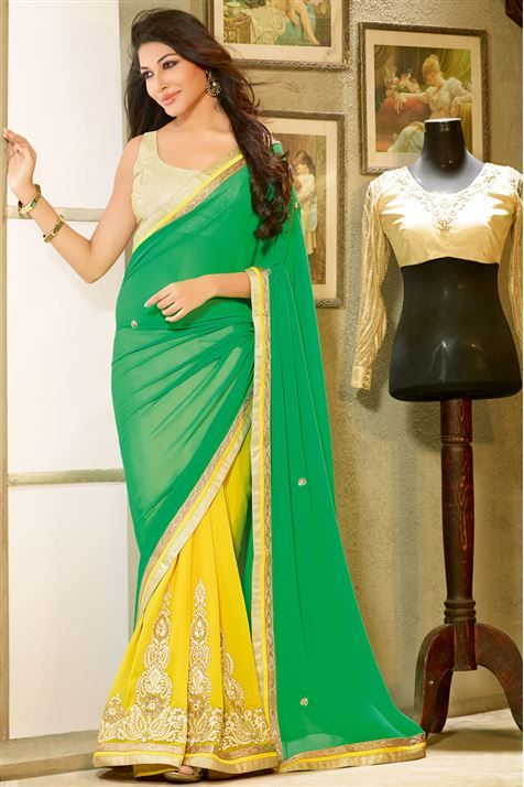 Green, Yellow Georgette Designer Saree with Lace Border