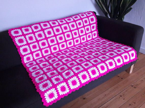 Pink Throw Blanket Pink Granny Squares Blanket by PhoenixSmiles
