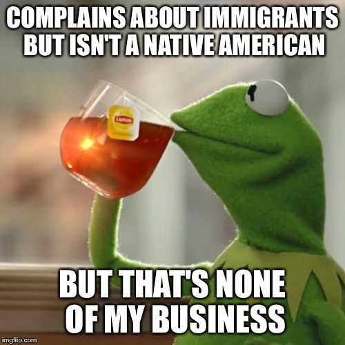Immigrants?! | COMPLAINS ABOUT IMMIGRANTS BUT ISN'T A NATIVE AMERICAN BUT THAT'S NONE OF MY BUSINESS | image tagged in memes,but thats none of my business,kermit the frog | made w/ Imgflip meme maker