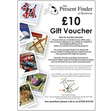 Present Finder Gift Voucher For the value of £10 Gift Voucher for The Present FinderIf your imagination is still struggling why dont you buy them a Present Finder Gift Voucher. It is valid for use on our web site or in our shop. It includes lots http://www.MightGet.com/january-2017-13/unbranded-present-finder-gift-voucher-for-the-value-of.asp