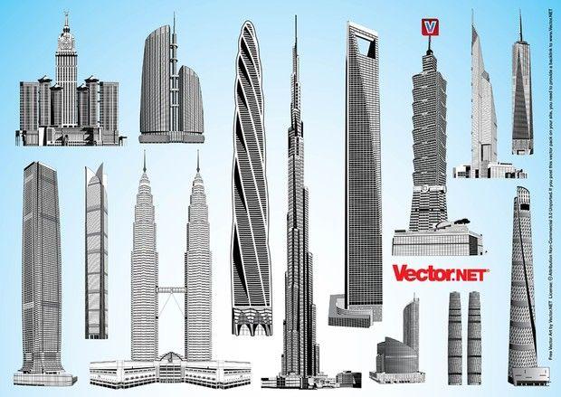 Burj Dubai, Shanghai Tower, Chicago Spire, China 117 Tower, Abraj al-Bait, New World Trade Center, Taipei 101, Federation Tower, Shanghai World Financial Center, International Commerce Center, Petronas Towers, Dubai Towers Doha, Jin Mao Tower