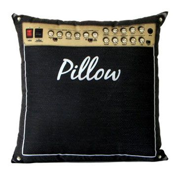 """rock'n'roll décor -- Mandi! assuming it doesn't actually say """"pillow"""" on it, thought this would be cool!"""