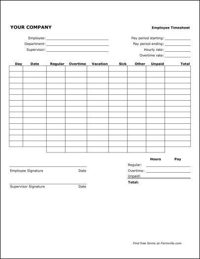 employee timesheet free