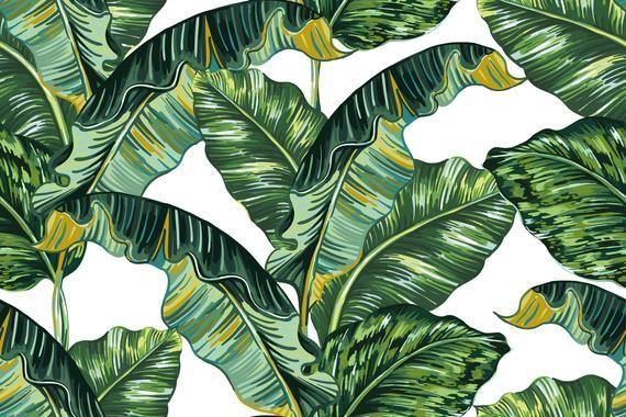 Removable Wallpaper Self Adhesive Wallpaper Jungle Large Leaves Peel Stick Wallpaper Mural