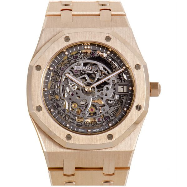 Audemars Piguet Men's Royal Oak Watch ($75,000) ❤ liked on Polyvore featuring men's fashion, men's jewelry, men's watches, nocolor, watches, mens watches jewelry and mens rose gold watches