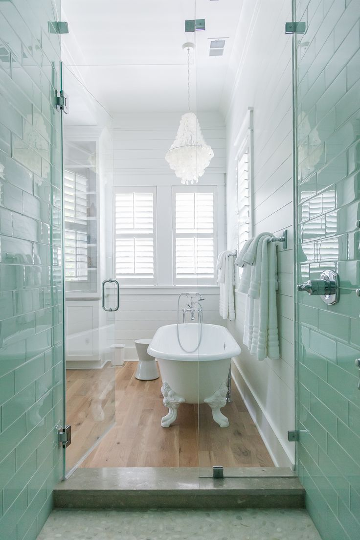 Coastal Master Bathroom With White Oak Floors Claw Foot