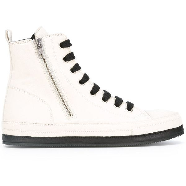 Ann Demeulemeester - hi-top sneakers - women - Leather/Foam Rubber -... ($820) ❤ liked on Polyvore featuring shoes, sneakers, white, white leather trainers, white shoes, leather sneakers, white sneakers and white leather high tops