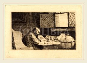 Alphonse Legros, Geographer (Le geographe), French, 1837-1911, drypoint (Alphonse Legros, Geographer (Le geographe), French, 1837-1911, drypoint)