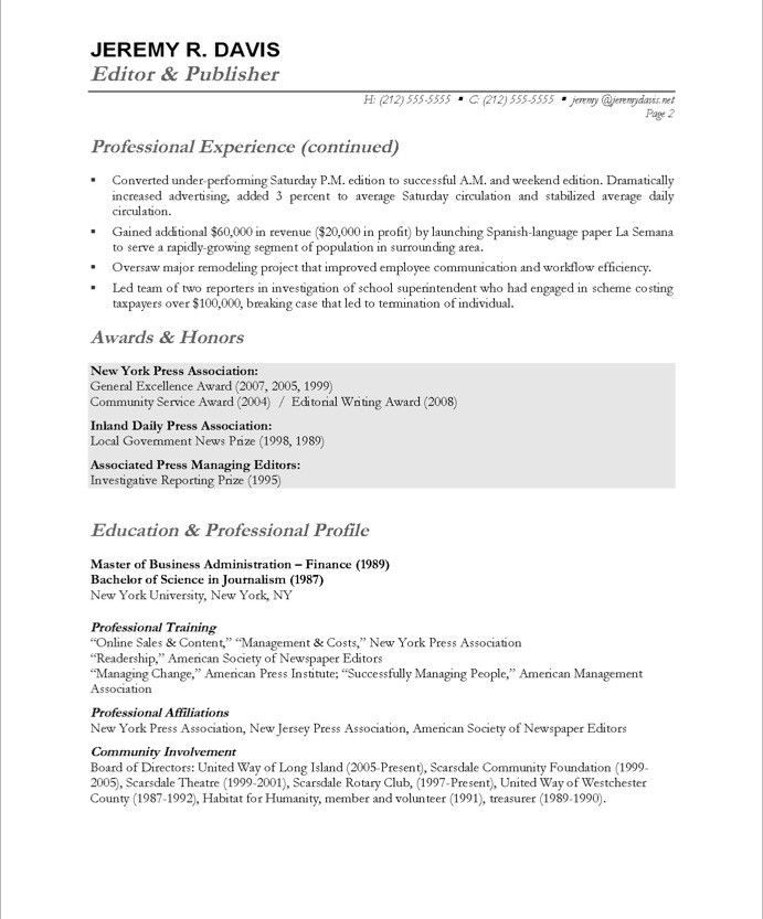 Opening Statement For Resume Managing Editor