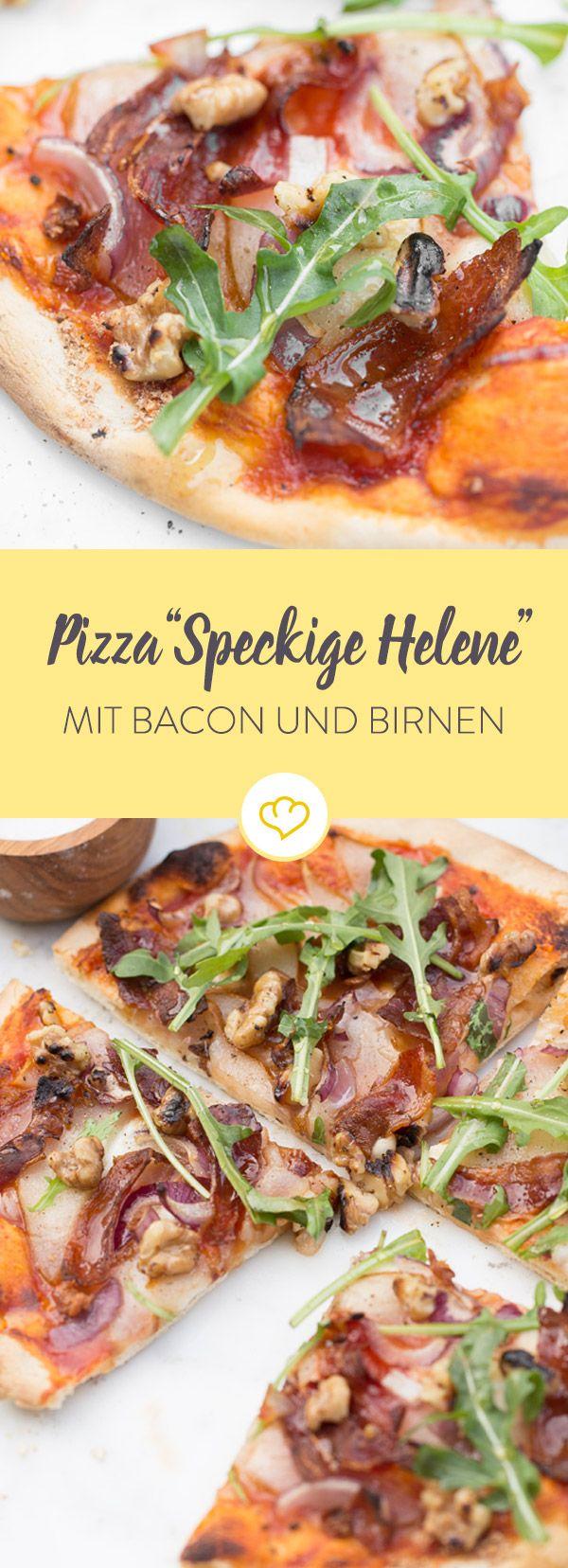 Du hast Lust auf Abwechslung auf deiner Pizza-Party? Dann probiere die Speckige Helene mit Bacon, Birne, Walnüssen und Honig.