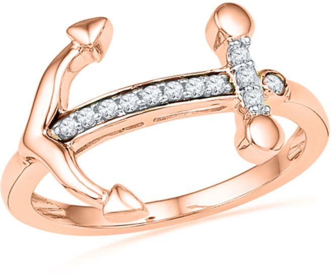 Zales 1/10 CT. T.W. Diamond Sideways Anchor Ring in 10K Rose Gold