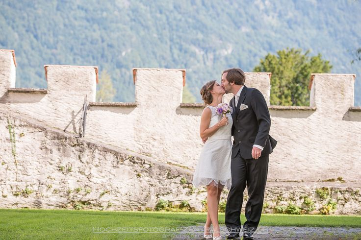 "Beautiful Shot of a Wedding Couple at the Castle ""A Pro"" in Switzerland"