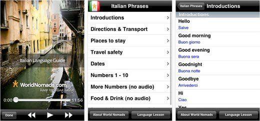 Learn Italian with WorldNomads Italian Language Guide app