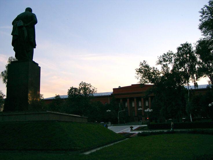 Taras Shevchenko gazes at the university in his name in Kyiv, Ukraine.