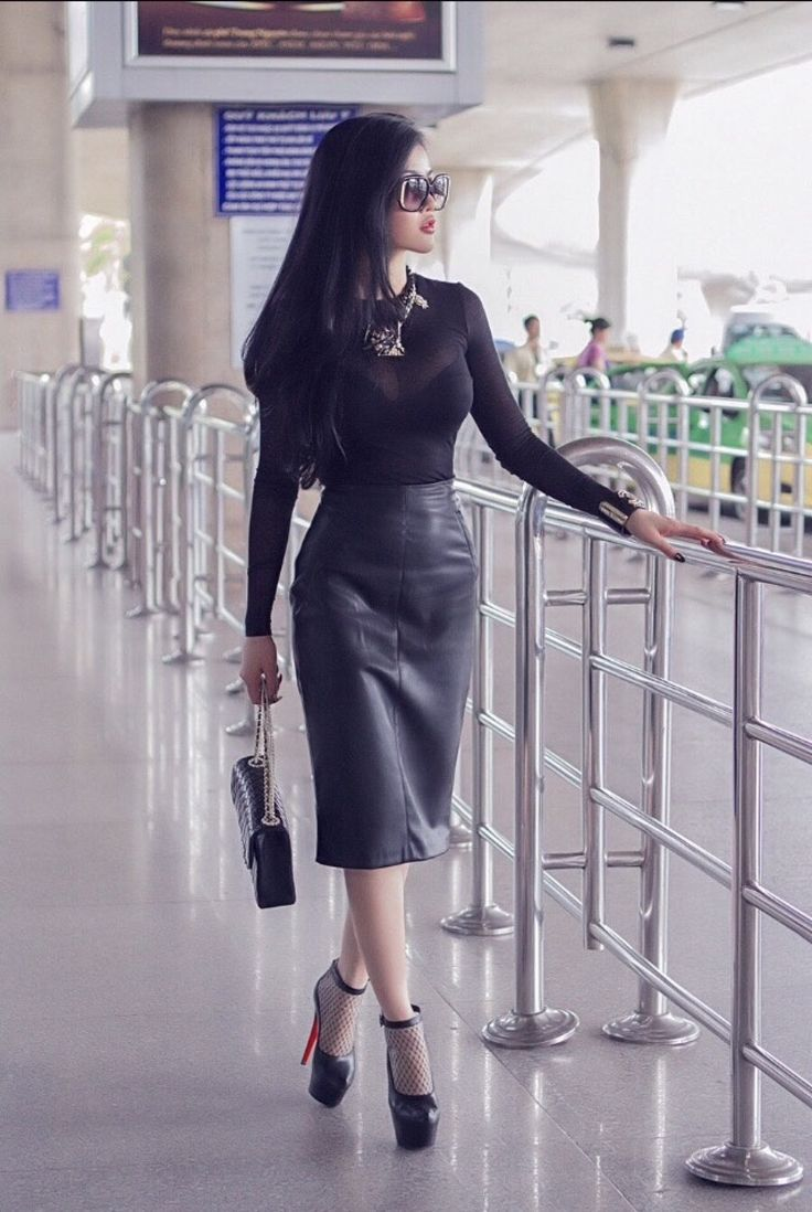 Pin On Leather Fashions Fashion Blouse Dress Leather