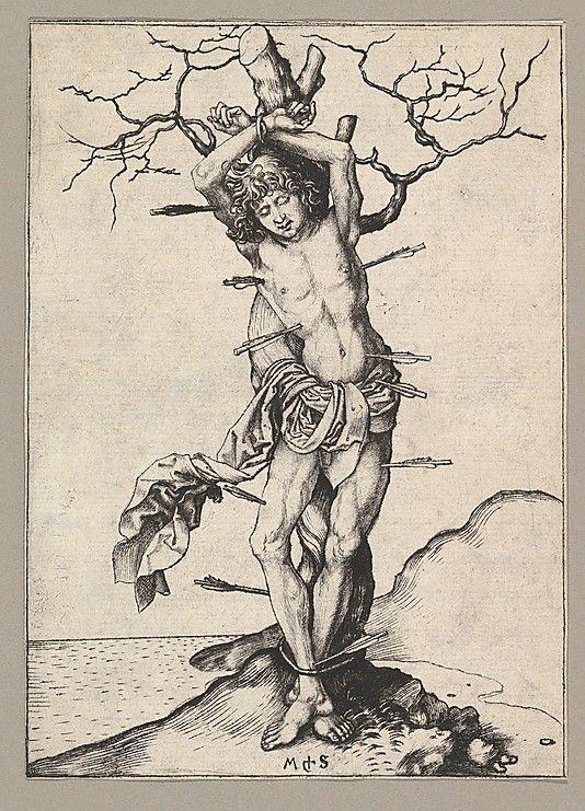 Saint Sebastian  Martin Schongauer (German, Colmar ca. 1435/50–1491 Breisach)  Date: 15th century Medium: Engraving Dimensions: Sheet: 6 1/4 x 4 7/16 in. (15.8 x 11.3 cm) Classification: Prints Credit Line: Harris Brisbane Dick Fund, 1951 Accession Number: 51.516.2