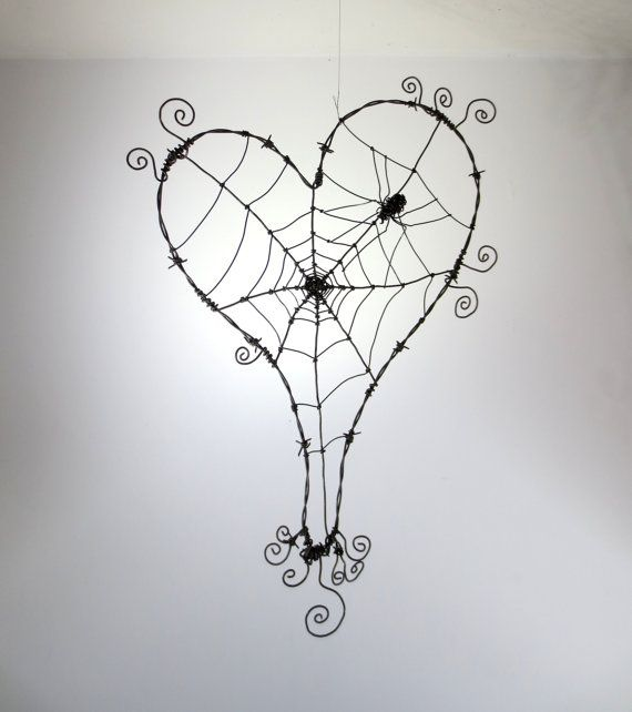 ** Halloween Indoor Decorations..  Wonky Barbed Wire Heart With Spider Web  @thedustyraven