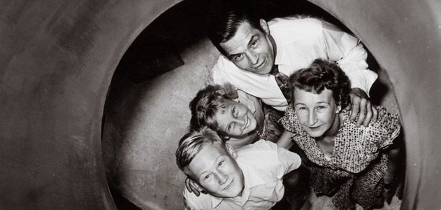 typical family in a bomb shelter