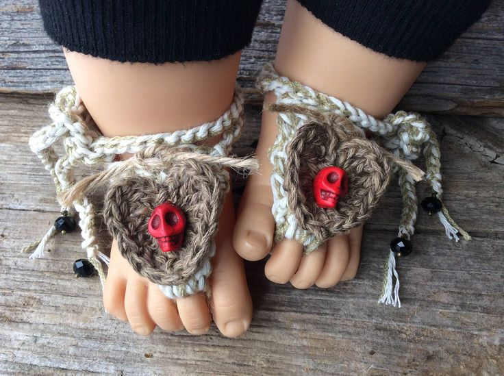 Goth baby, gothic baby clothes, red skulls, unisex sandals, crochet booties, barefoot anklets, cotton beachwear, newborn gift, 0-12 months by Rosebudbabydesigns on Etsy