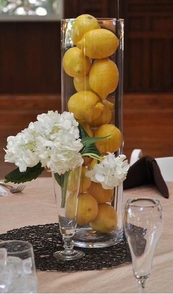 non floral centerpiece with lemons in a vase. Wedding Centerpieces on a Shoestring