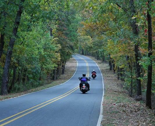 Scenic motorcycle rides through the Ozark Hills.