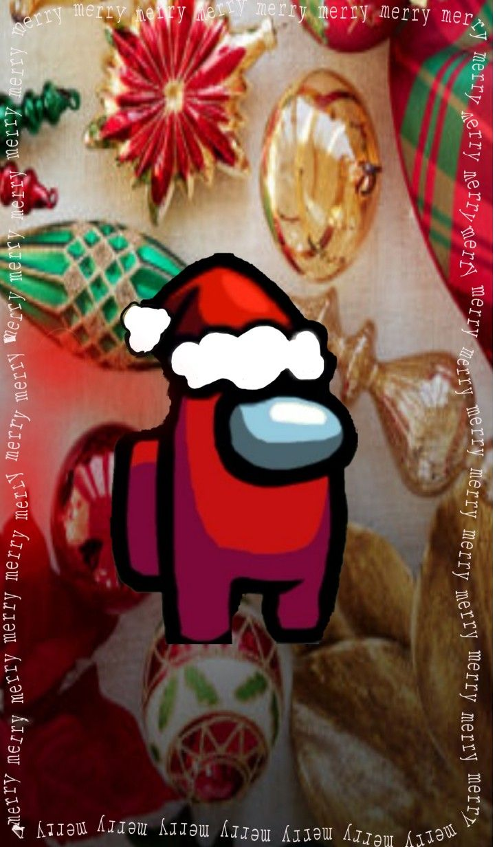 Have A Merry Christmas Wallpaper With Your Favorite Among Us Character Red Christmas Wallpaper Merry Christmas Wallpaper Cute Christmas Wallpaper