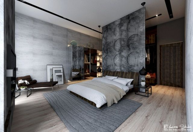modernes schlafzimmer sichtbeton wand optik holzboden