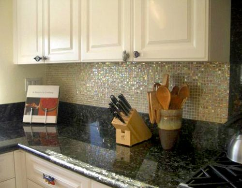 Black Countertops With Backsplash | ... Shimmerfly Glass Tile, Found In  Kitchen Backsplash Under Cabinets | Kitchen | Pinterest | Black Granite  Countertops, ...