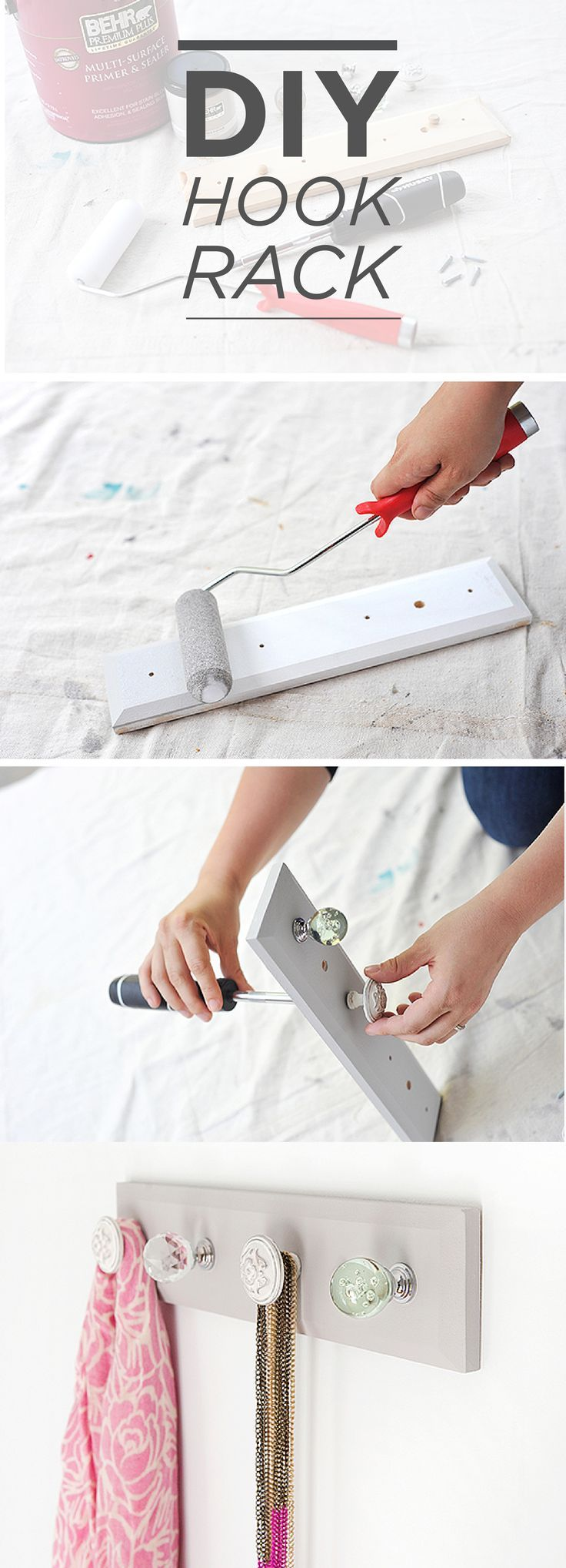 This DIY hook rack is perfect for adding to your entryway, mudroom, or even laundry room! Not only does it help keep everything organized, but when finished with BEHR paint in Serene Journey, it's stylish too. http://blog.homedepot.com/diy-hook-rack-using-cabinet-knobs/
