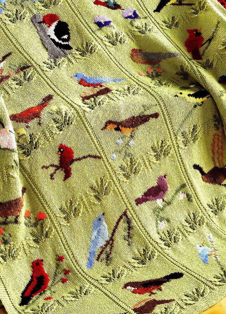 Beautiful Knitted Bird Throw