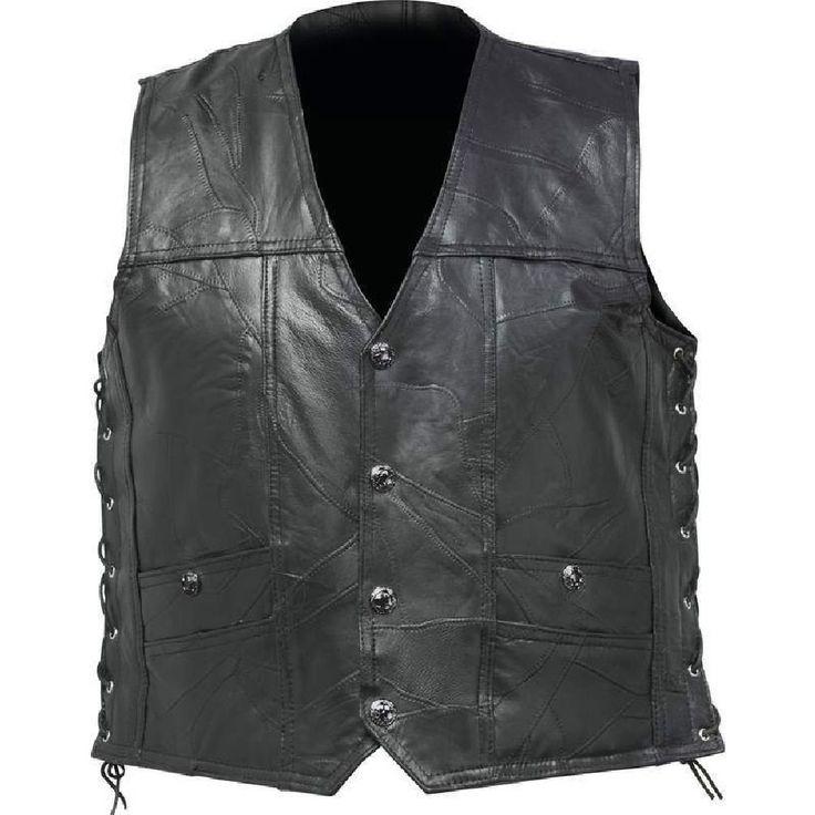 Mens Black Leather Concealed Carry Vest Ccw Holster Pocket Motorcycle Biker