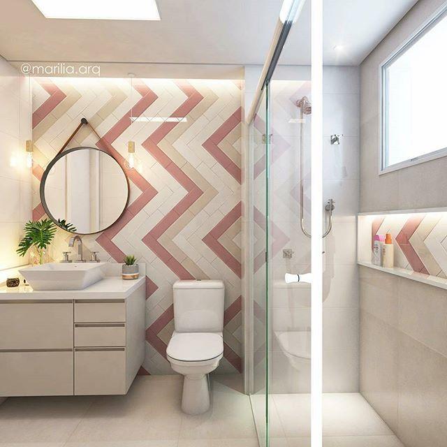 Amei tanto esse banheiro, que nem sei. Quero um pra mim. Um dia eu chego lá Algumas pessoas pediram mais fotos dele. Tá aí. #decorfeelingsinspira Projeto: @marilia.arq