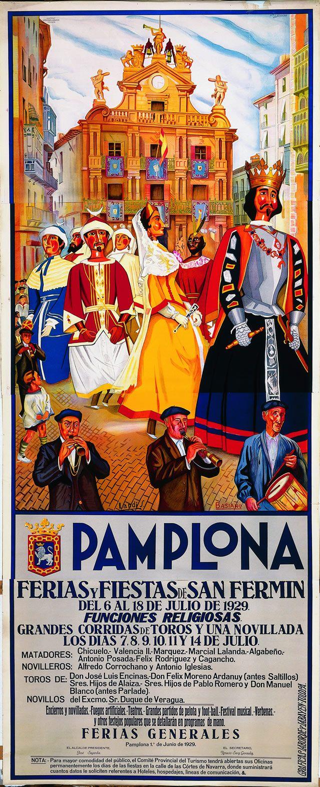 Cartel de los Sanfermines de 1929 - Fiestas y ferias de San Fermín, Pamplona…