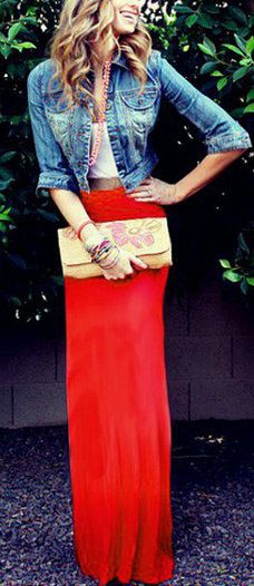 Red maxi, white and denim top