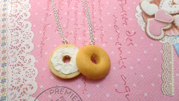 Lunga distanza migliori gli amici collane BFF - Bagel Besties: Miniatura cibo gioielli collana, Polymer Clay cibo collana