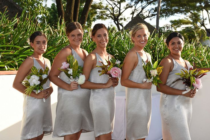 Silver dresses with V-neck for the bridal party in Fiji photographed by Anais Photography