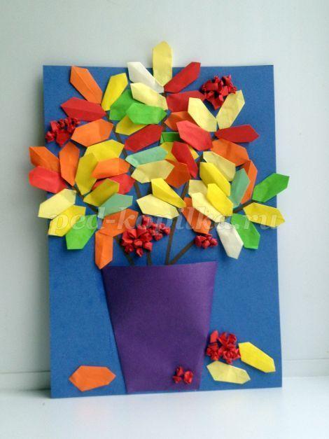 Мастер – класс аппликация с использованием элементов оригами. Рябина в вазе