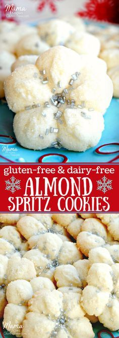Almond Spritz Cookies {Gluten-Free, Dairy-Free} - Mama Knows Gluten Free Almond spritz cookies are the perfect balance of a bit of almond and touch of sweetness. This light and perfectly crisp cookie is a holiday classic. It now can be enjoyed both gluten-free and dairy-free. #glutenfreecookies #dairyfreecookies #Christmascookies #glutenfreeChristmas