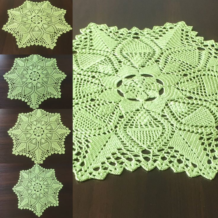 Green napkin centerpiece Doily crocheted doily rustic decor coffee table doily crochet coaster table mat kitchen coasters kitchen accessory. by HolidayCrochets on Etsy