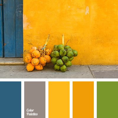 bright orange, color of concrete, color of greenery, color of stone, contrasting combination of colors, dark blue color, dark-blue, gray, green, orange and green, Orange Color Palettes, saffron yellow, selection of contrasting colors, shades of orange.